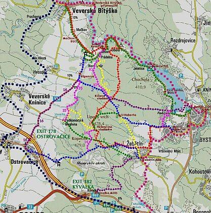 Hradecké lesy mapa